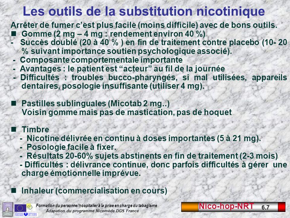 Nico-hop-NRT 6.7 Formation du personnel hospitalier à la prise en charge du tabagisme Adapation du programme Nicomède DGS France Les outils de la substitution nicotinique Arrêter de fumer cest plus facile (moins difficile) avec de bons outils.