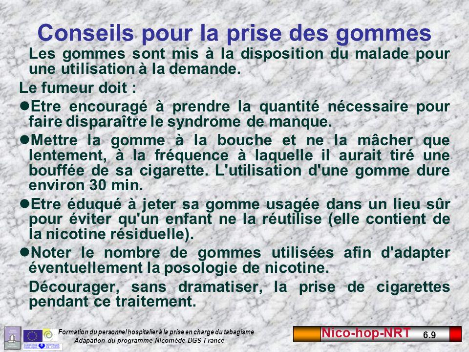 Nico-hop-NRT 6.9 Formation du personnel hospitalier à la prise en charge du tabagisme Adapation du programme Nicomède DGS France Conseils pour la prise des gommes Les gommes sont mis à la disposition du malade pour une utilisation à la demande.