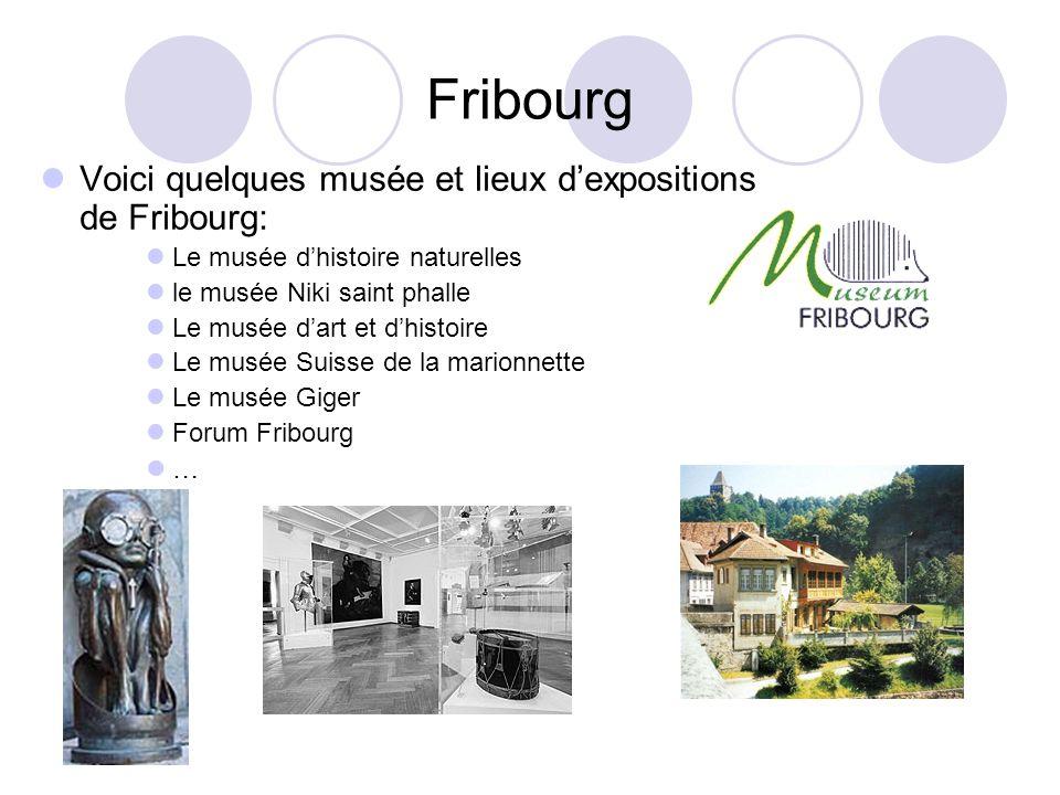 Fribourg Voici quelques musée et lieux dexpositions de Fribourg: Le musée dhistoire naturelles le musée Niki saint phalle Le musée dart et dhistoire L