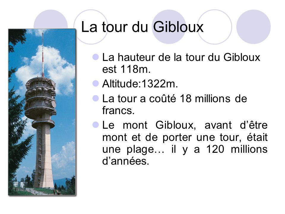 La tour du Gibloux La hauteur de la tour du Gibloux est 118m. Altitude:1322m. La tour a coûté 18 millions de francs. Le mont Gibloux, avant dêtre mont