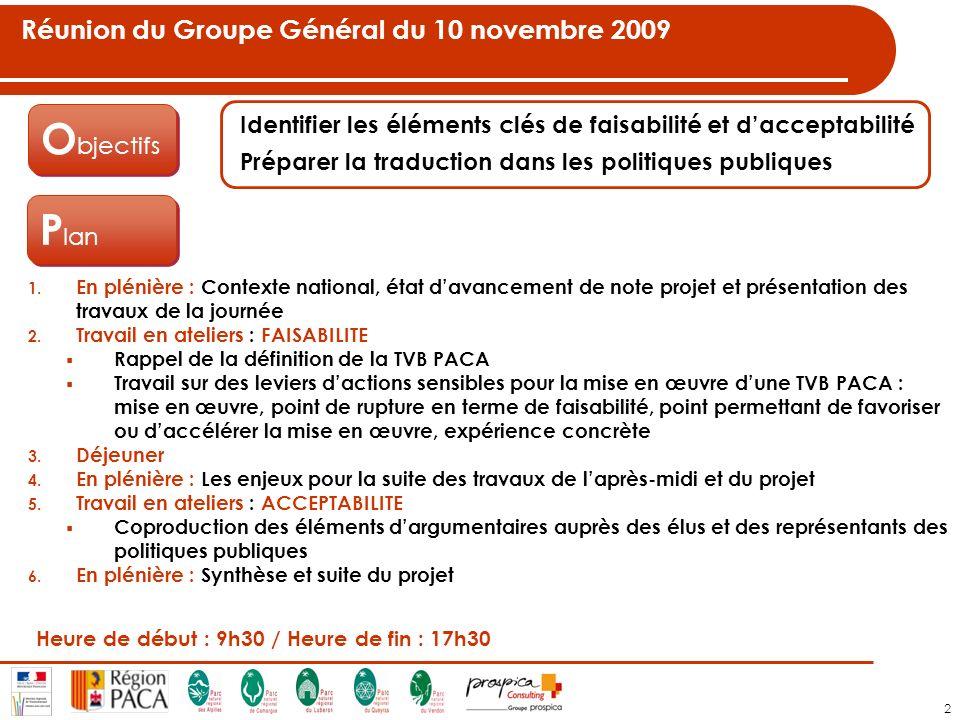 2 Réunion du Groupe Général du 10 novembre 2009 O bjectifs Identifier les éléments clés de faisabilité et dacceptabilité Préparer la traduction dans les politiques publiques P lan 1.