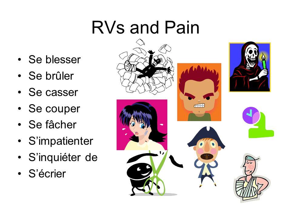 RVs and Pain Se blesser Se brûler Se casser Se couper Se fâcher Simpatienter Sinquiéter de Sécrier