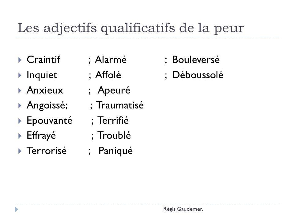 Les adjectifs qualificatifs de la peur Craintif ; Alarmé; Bouleversé Inquiet ; Affolé; Déboussolé Anxieux ; Apeuré Angoissé; ; Traumatisé Epouvanté ;