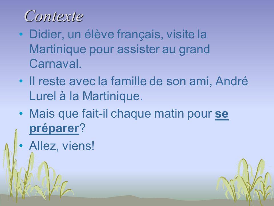 Contexte Didier, un élève français, visite la Martinique pour assister au grand Carnaval. Il reste avec la famille de son ami, André Lurel à la Martin