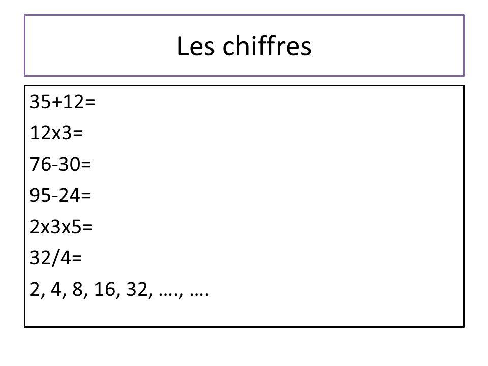 Les chiffres 35+12= 12x3= 76-30= 95-24= 2x3x5= 32/4= 2, 4, 8, 16, 32, …., ….