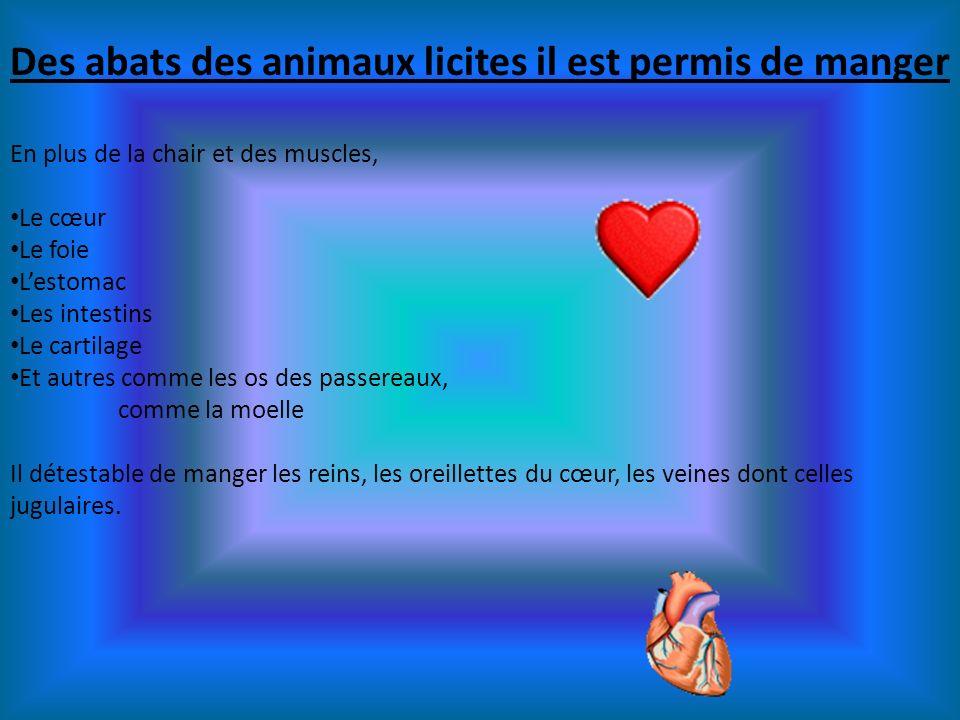 Des abats des animaux licites il est permis de manger En plus de la chair et des muscles, Le cœur Le foie Lestomac Les intestins Le cartilage Et autre