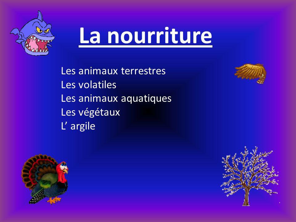 La nourriture Les animaux terrestres Les volatiles Les animaux aquatiques Les végétaux L argile
