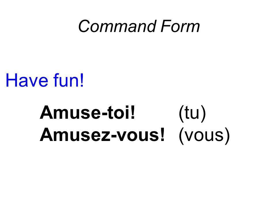 Command Form Have fun! Amuse-toi!(tu) Amusez-vous! (vous)