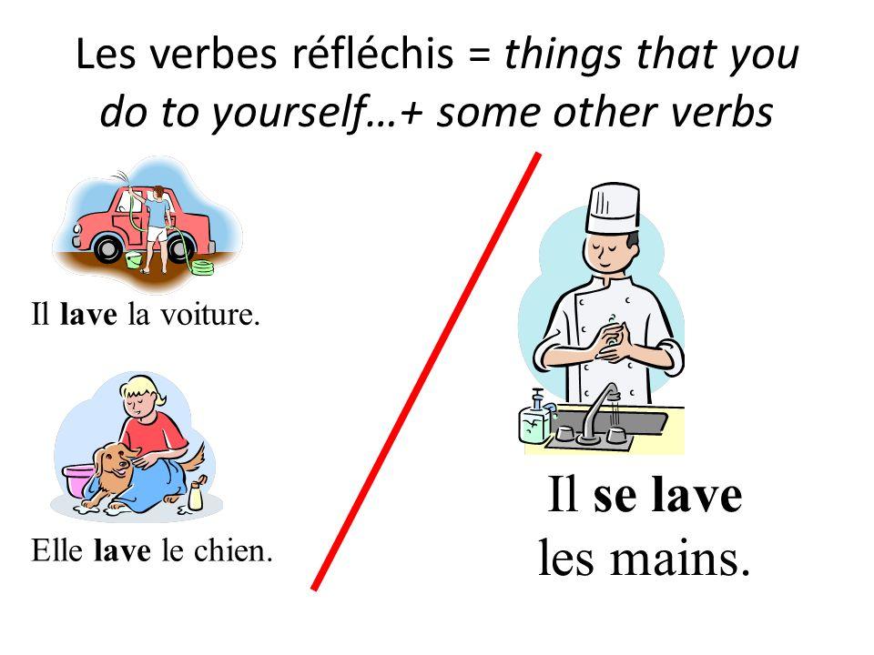 Les verbes réfléchis = things that you do to yourself…+ some other verbs Il lave la voiture. Il se lave les mains. Elle lave le chien.