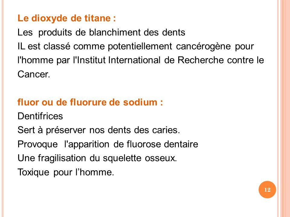 Le dioxyde de titane : Les produits de blanchiment des dents IL est classé comme potentiellement cancérogène pour l'homme par l'Institut International