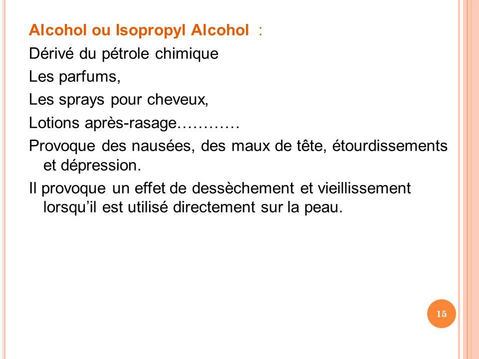 Alcohol ou Isopropyl Alcohol : Dérivé du pétrole chimique Les parfums, Les sprays pour cheveux, Lotions après-rasage………… Provoque des nausées, des mau