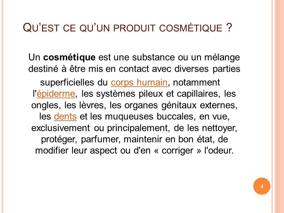 Q U EST CE QU UN PRODUIT COSMÉTIQUE ? Un cosmétique est une substance ou un mélange destiné à être mis en contact avec diverses parties superficielles