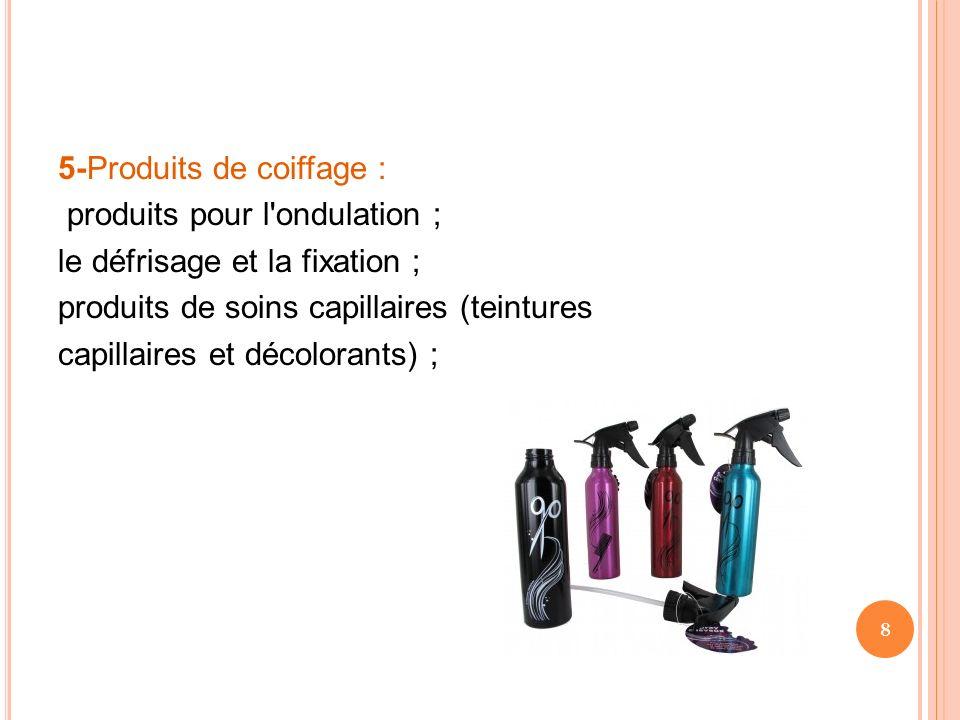5-Produits de coiffage : produits pour l'ondulation ; le défrisage et la fixation ; produits de soins capillaires (teintures capillaires et décolorant