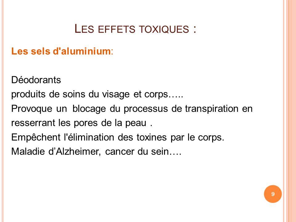 L ES EFFETS TOXIQUES : Les sels d'aluminium: Déodorants produits de soins du visage et corps….. Provoque un blocage du processus de transpiration en r