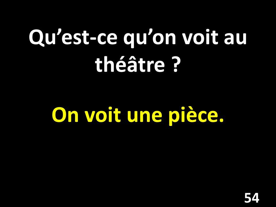 Quest-ce quon voit au théâtre On voit une pièce. 54