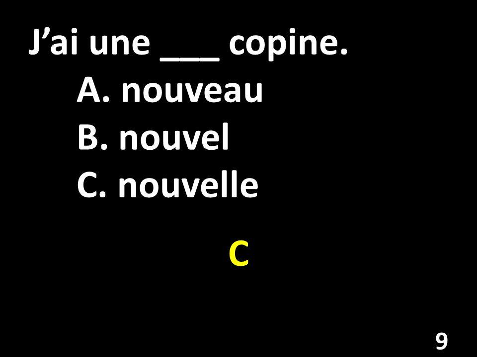 Jai une ___ copine. A. nouveau B. nouvel C. nouvelle C 9