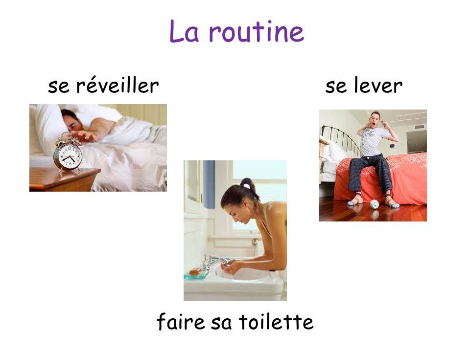 La routine se réveillerse lever faire sa toilette