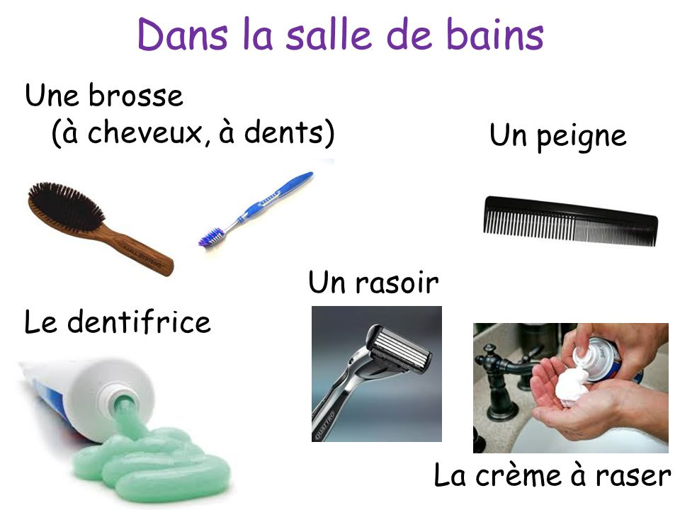 Dans la salle de bains Une brosse (à cheveux, à dents) La crème à raser Un rasoir Le dentifrice Un peigne