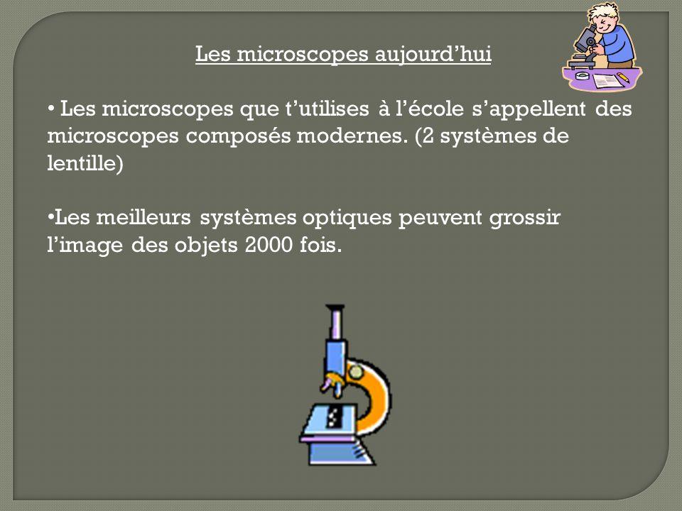 Les microscopes aujourdhui Les microscopes que tutilises à lécole sappellent des microscopes composés modernes. (2 systèmes de lentille) Les meilleurs