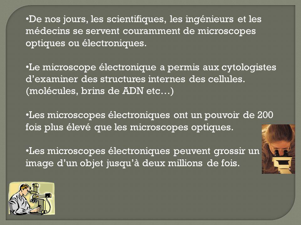 De nos jours, les scientifiques, les ingénieurs et les médecins se servent couramment de microscopes optiques ou électroniques. Le microscope électron