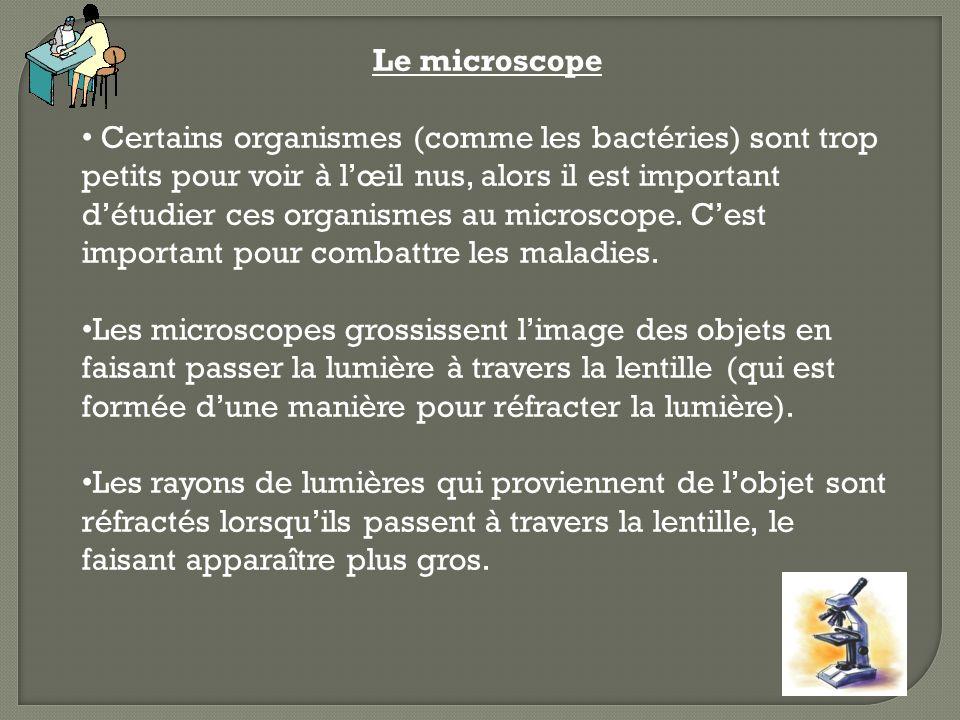 Le microscope Certains organismes (comme les bactéries) sont trop petits pour voir à lœil nus, alors il est important détudier ces organismes au micro