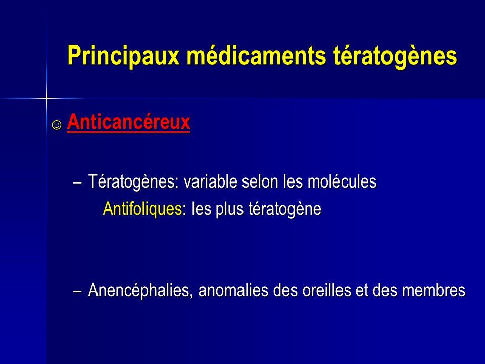 Principaux médicaments tératogènes Anticancéreux Anticancéreux –Tératogènes: variable selon les molécules Antifoliques: les plus tératogène Antifoliqu