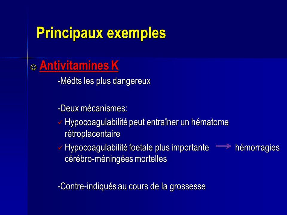 Principaux exemples Antivitamines K Antivitamines K -Médts les plus dangereux -Deux mécanismes: Hypocoagulabilité peut entraîner un hématome rétroplac