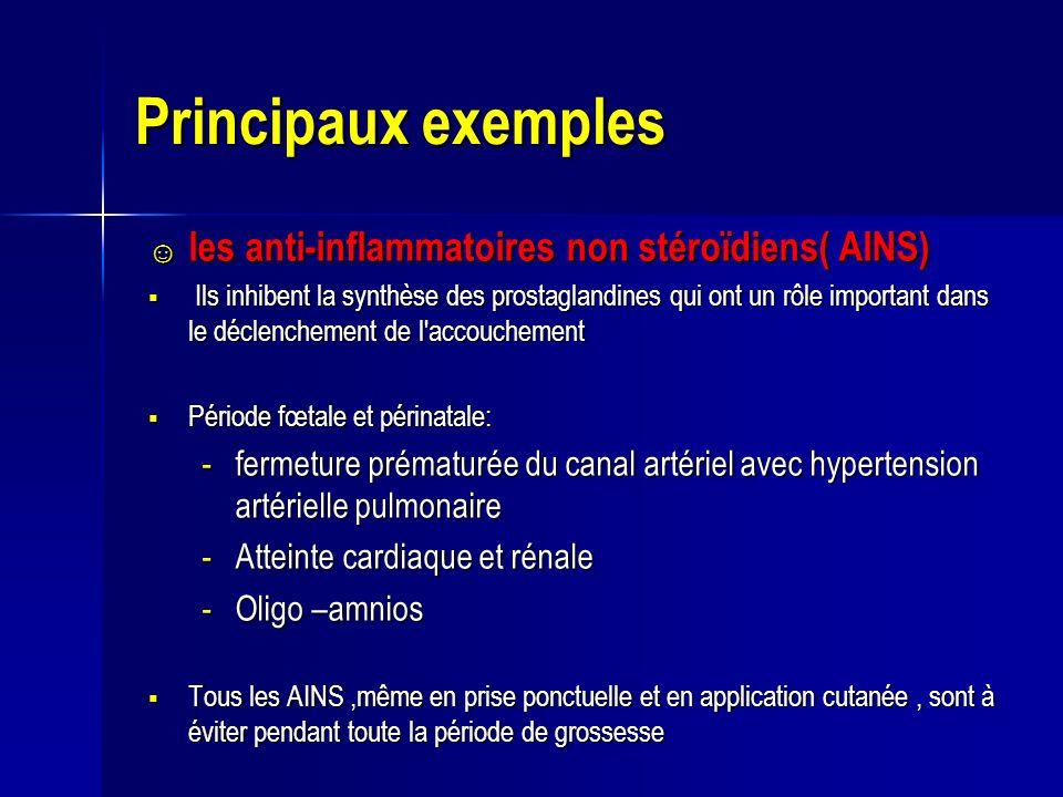 Principaux exemples les anti-inflammatoires non stéroïdiens( AINS) les anti-inflammatoires non stéroïdiens( AINS) Ils inhibent la synthèse des prostag