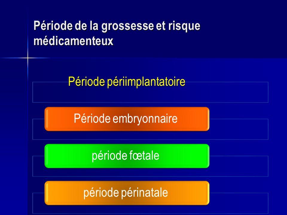Période périimplantatoirePériode embryonnaire période fœtale période périnatale Période de la grossesse et risque médicamenteux