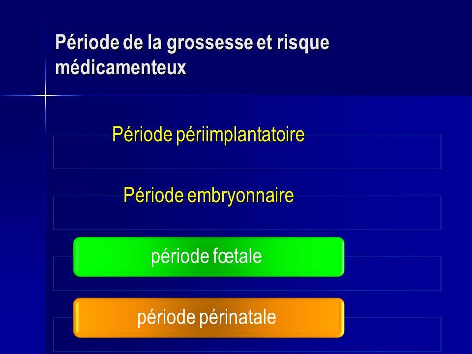 Période périimplantatoirePériode embryonnairepériode fœtale période périnatale Période de la grossesse et risque médicamenteux