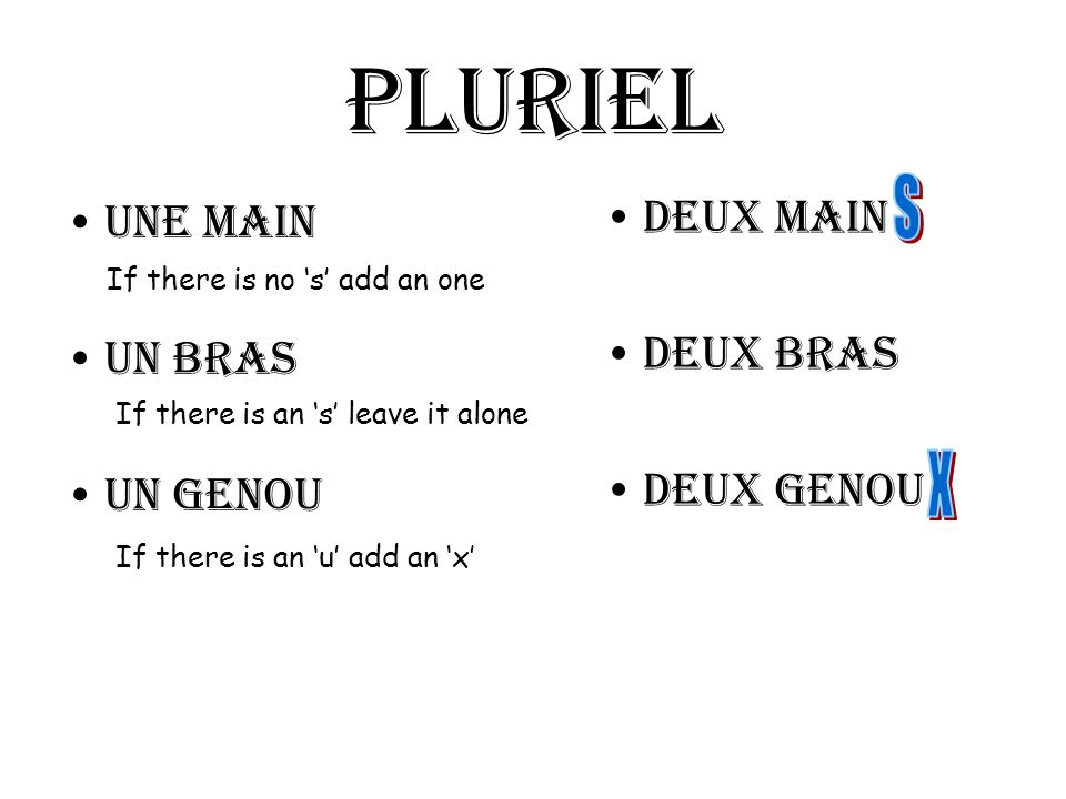Pluriel Une main Un bras Un genou Deux main Deux bras Deux genou If there is no s add an one If there is an s leave it alone If there is an u add an x