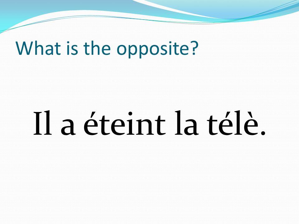 What is the opposite? Il a éteint la télè.