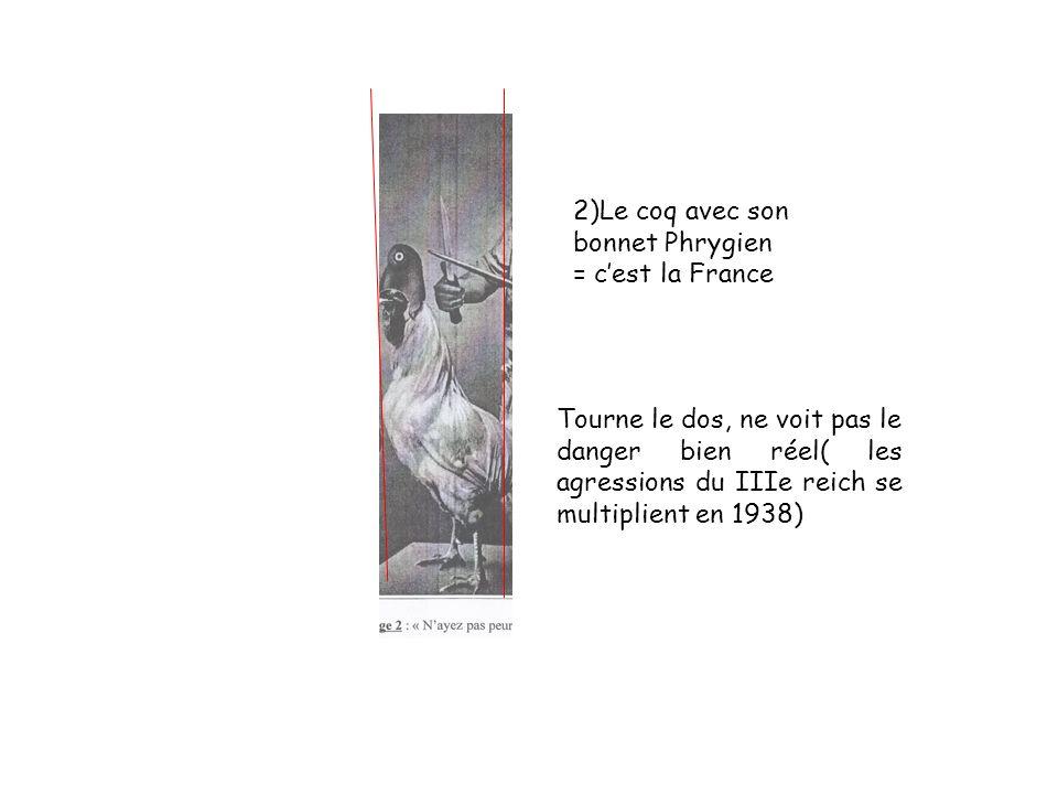 2)Le coq avec son bonnet Phrygien = cest la France Tourne le dos, ne voit pas le danger bien réel( les agressions du IIIe reich se multiplient en 1938)