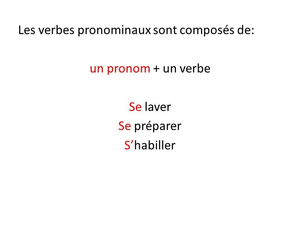 Les verbes pronominaux sont composés de: un pronom + un verbe Se laver Se préparer Shabiller