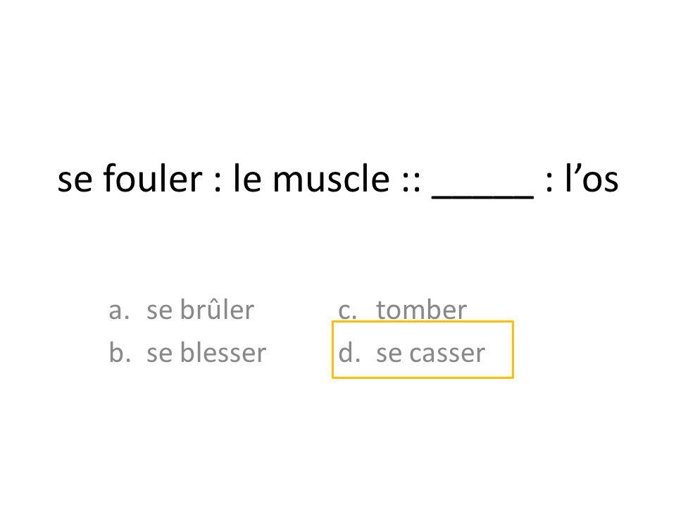 se fouler : le muscle :: _____ : los a.se brûler b.se blesser c.tomber d.se casser