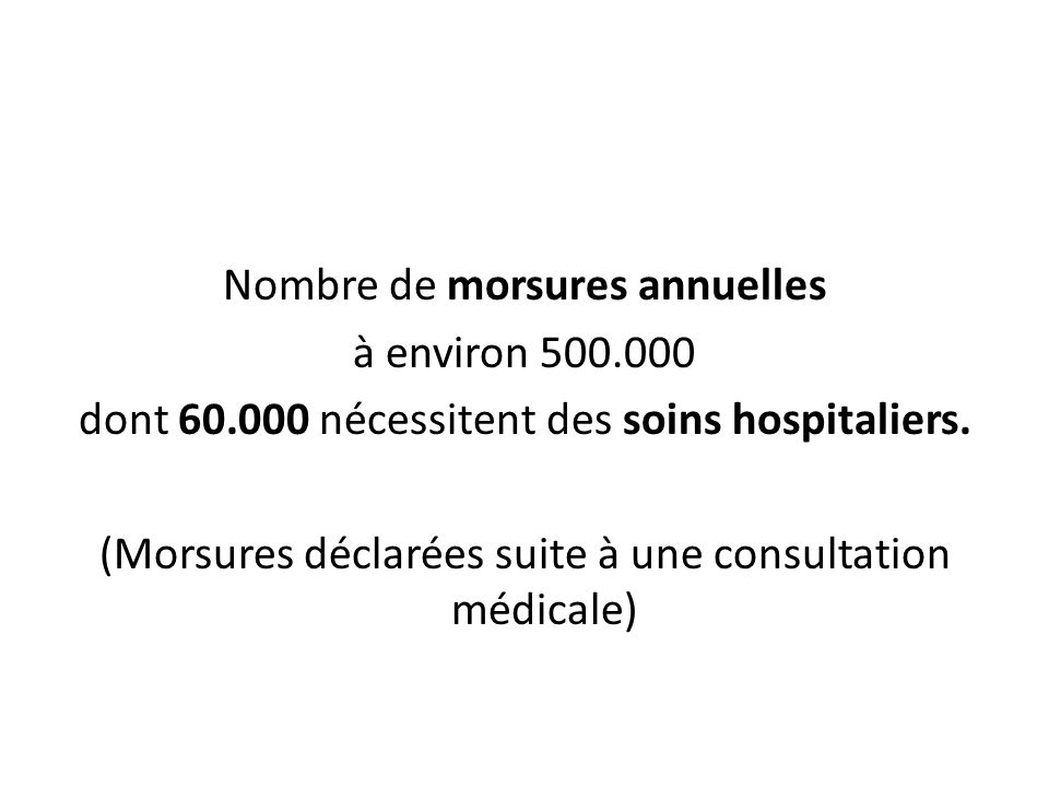 Nombre de morsures annuelles à environ 500.000 dont 60.000 nécessitent des soins hospitaliers. (Morsures déclarées suite à une consultation médicale)