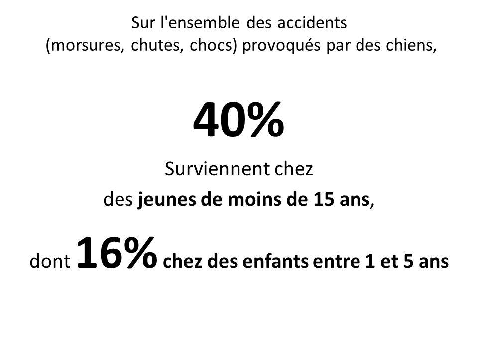 Sur l'ensemble des accidents (morsures, chutes, chocs) provoqués par des chiens, 40% Surviennent chez des jeunes de moins de 15 ans, dont 16% chez des