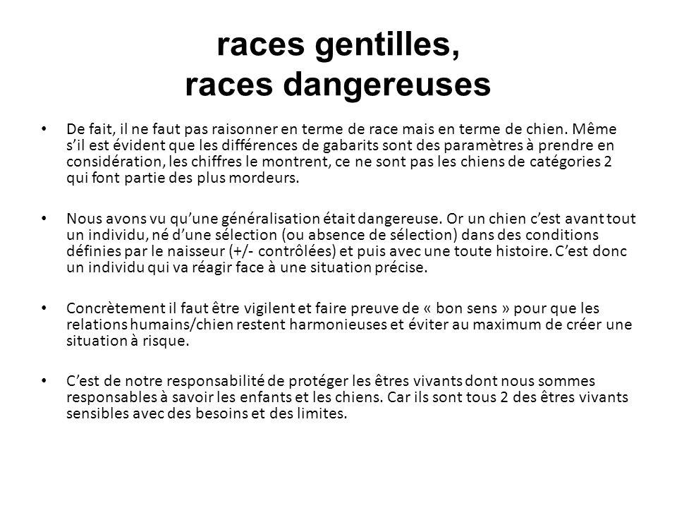 races gentilles, races dangereuses De fait, il ne faut pas raisonner en terme de race mais en terme de chien. Même sil est évident que les différences
