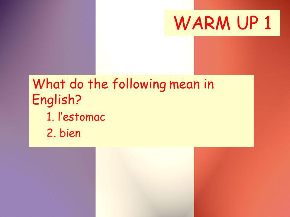 WARM UP 1 What do the following mean in English? 1. lestomac 2. bien