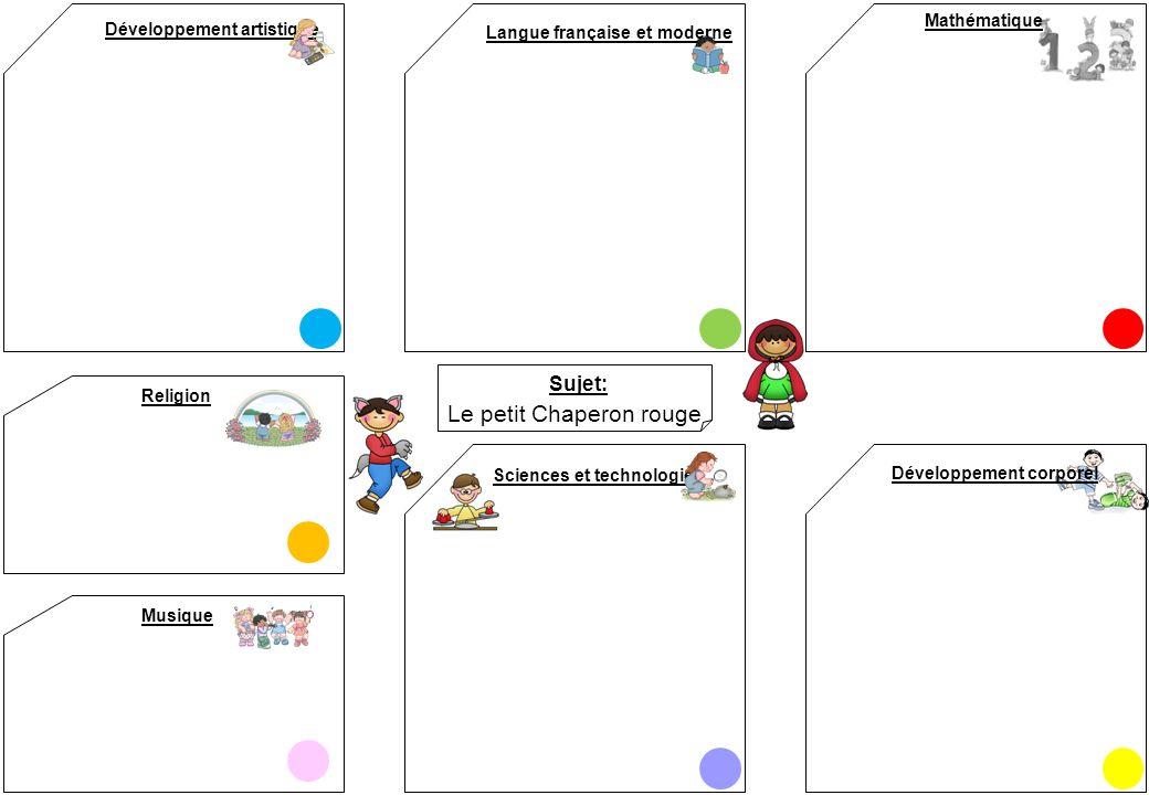 Sujet: Développement artistique Mathématique Langue française et moderne Sciences et technologies Développement corporel Le petit Chaperon rouge Relig