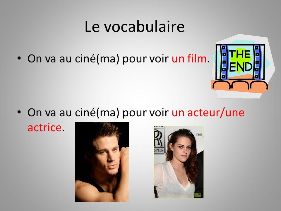 Le vocabulaire On va au ciné(ma) pour voir un film. On va au ciné(ma) pour voir un acteur/une actrice.