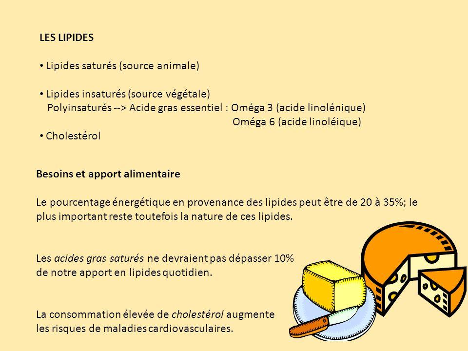 LES LIPIDES Lipides saturés (source animale) Lipides insaturés (source végétale) Polyinsaturés --> Acide gras essentiel : Oméga 3 (acide linolénique) Oméga 6 (acide linoléique) Cholestérol Besoins et apport alimentaire Le pourcentage énergétique en provenance des lipides peut être de 20 à 35%; le plus important reste toutefois la nature de ces lipides.