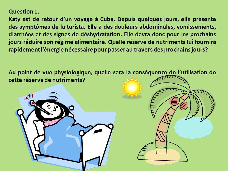Question 1. Katy est de retour dun voyage à Cuba. Depuis quelques jours, elle présente des symptômes de la turista. Elle a des douleurs abdominales, v