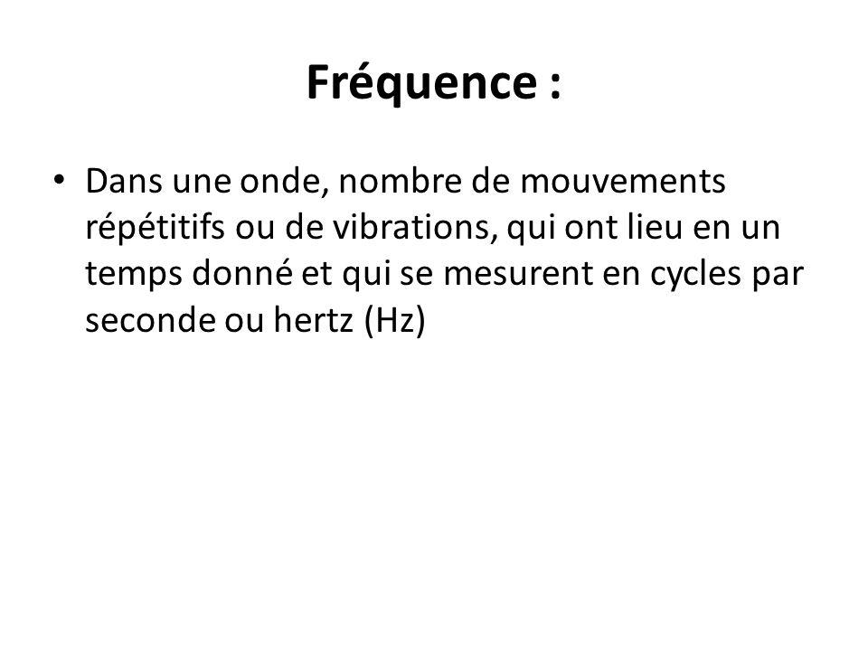 Fréquence : Dans une onde, nombre de mouvements répétitifs ou de vibrations, qui ont lieu en un temps donné et qui se mesurent en cycles par seconde o