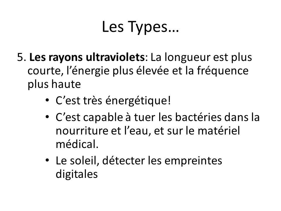 Les Types… 5. Les rayons ultraviolets: La longueur est plus courte, lénergie plus élevée et la fréquence plus haute Cest très énergétique! Cest capabl