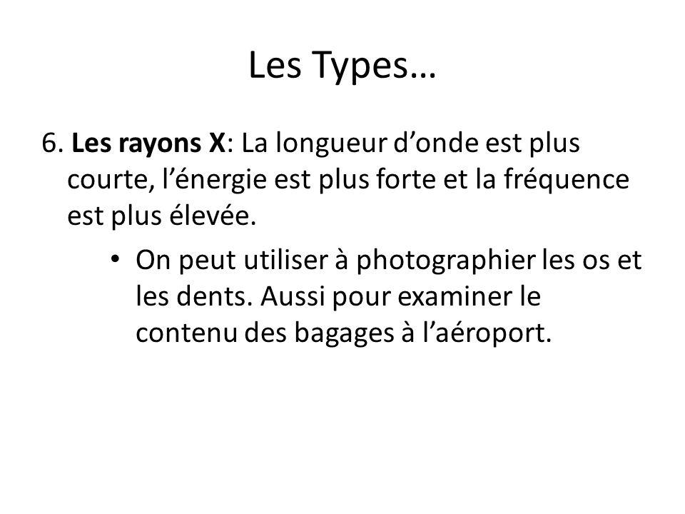 Les Types… 6. Les rayons X: La longueur donde est plus courte, lénergie est plus forte et la fréquence est plus élevée. On peut utiliser à photographi