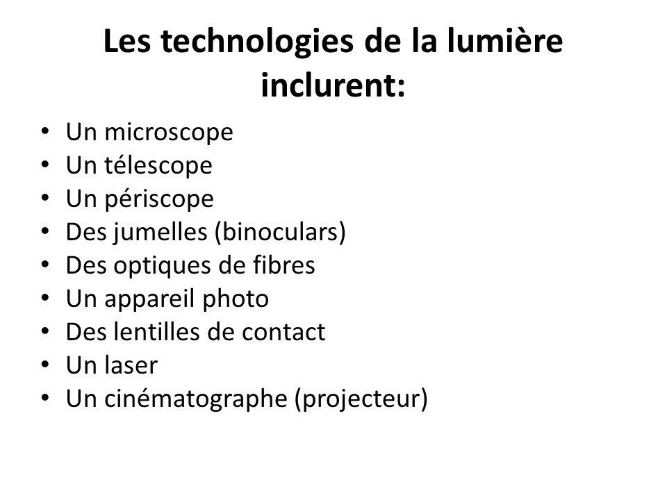 Les technologies de la lumière inclurent: Un microscope Un télescope Un périscope Des jumelles (binoculars) Des optiques de fibres Un appareil photo D