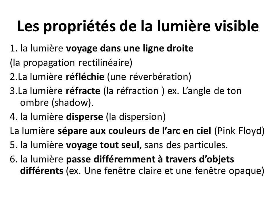 Les propriétés de la lumière visible 1. la lumière voyage dans une ligne droite (la propagation rectilinéaire) 2.La lumière réfléchie (une réverbérati