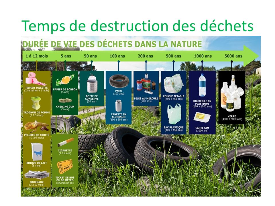 Temps de destruction des déchets