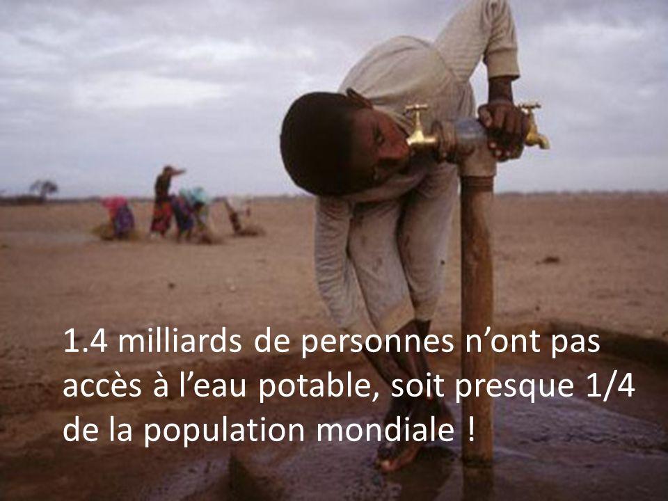 1.4 milliards de personnes nont pas accès à leau potable, soit presque 1/4 de la population mondiale !